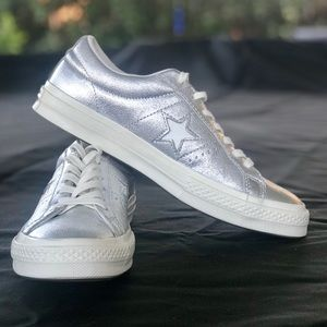 Converse One Star Silver Metallic Sneakers